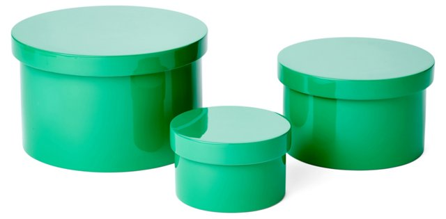 Asst. of 3 Round Lacquer Boxes, Green
