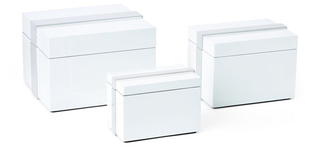 White Lacquer Boxes, Asst. of 3