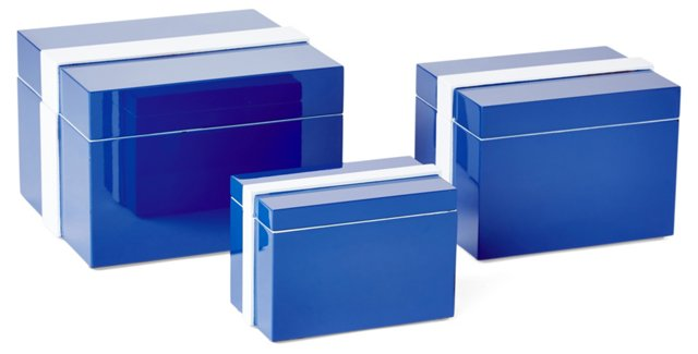 Asst. of 3 Lacquer Boxes, Blue