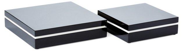 Black Lacquer Boxes, Asst. of 2