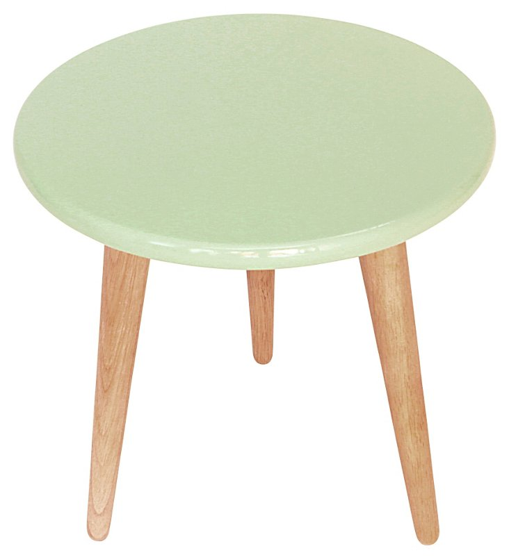 High Lacquer Stool, Mint Green