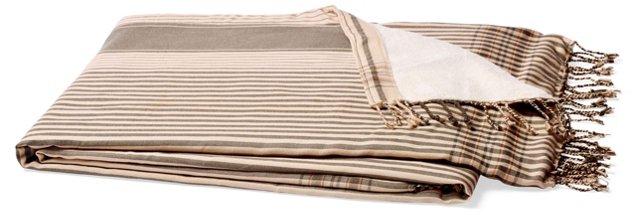 Stripes Cotton Beach Blanket, Gray