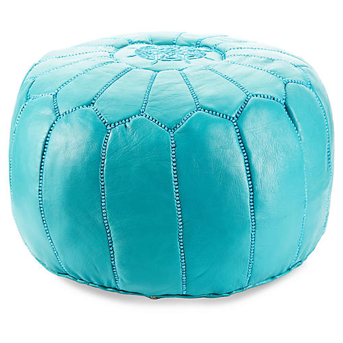 Moroccan Pouf, Turquoise