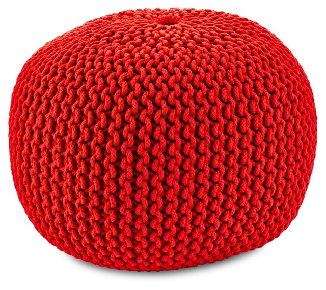 Elinor Knit Pouf, Dark Red