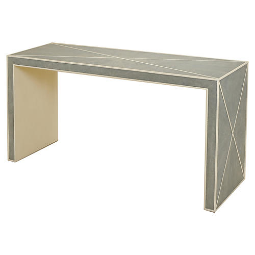"Faux-Leather 68"" Console, Gray Agate"