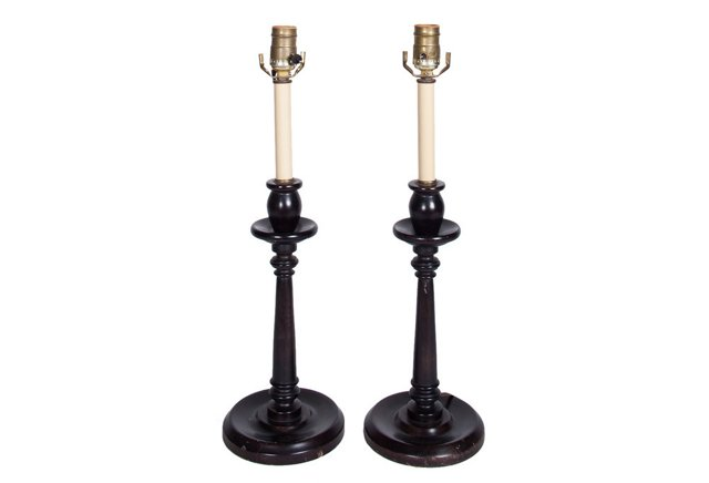 Dark Wood Candlestick Lamps, Pair
