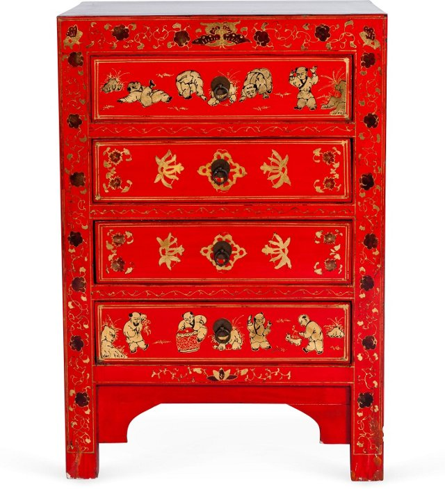 Antique Red Lacquer Cabinet