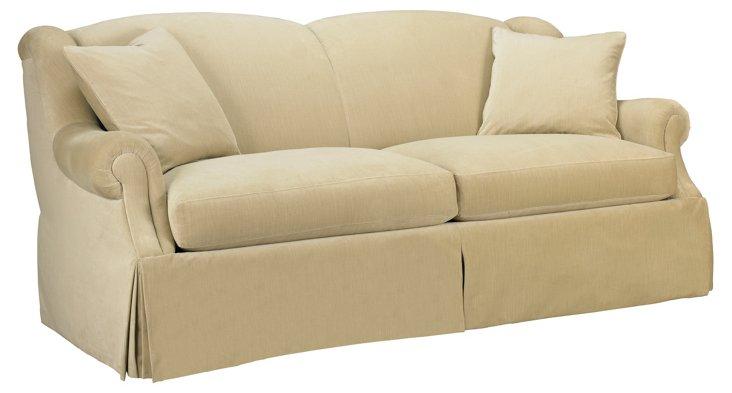 "Naples 86"" Skirted Sofa, Beige"