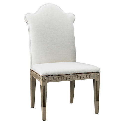 Greek Key Linen Side Chair, White