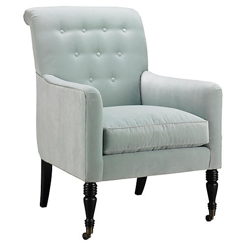 Keswick Tufted Chair, Light Blue