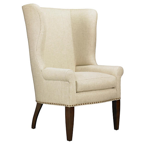 Throwback Wingback Chair, Beige