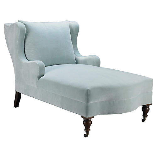Montclaire Chaise, Light Blue Velvet