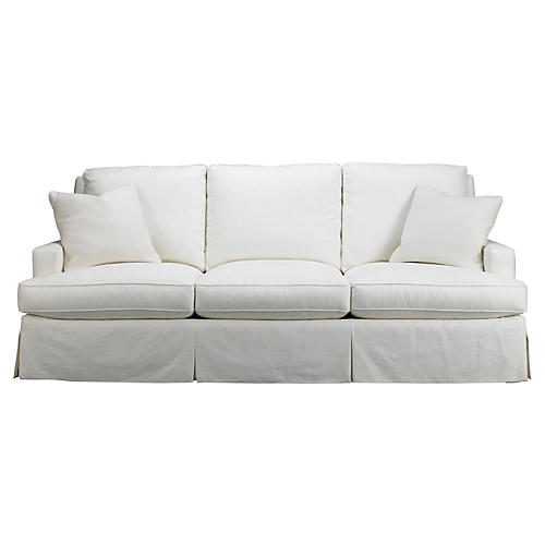 "Fairfax 90"" Skirted Sofa, White"