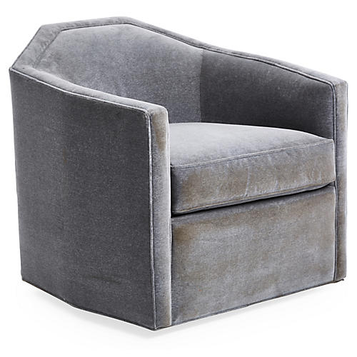 Swivel Swivel Chair, Velvet Gray