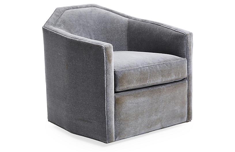 Swivel Swivel Chair, Velvet Gray