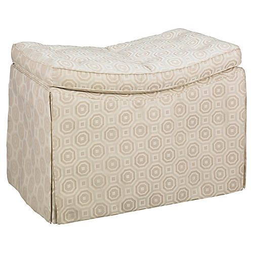 Concave Skirted Ottoman, Natural Mosaic