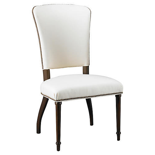 Stiletto Side Chair, White Linen