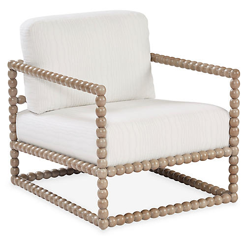 Spool Accent Chair, Ivory