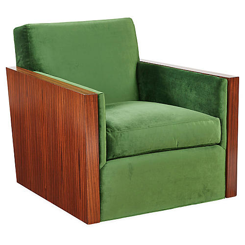Manderley Club Chair, Emerald Velvet