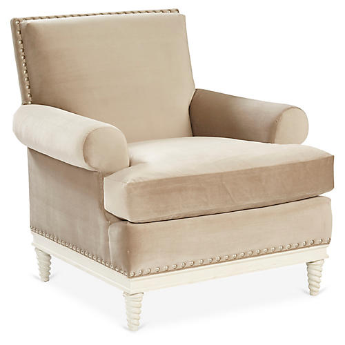 Pairs Accent Chair, Latte Velvet