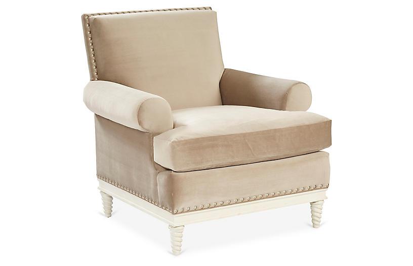 Pairs Accent Chair, Latte Velvet