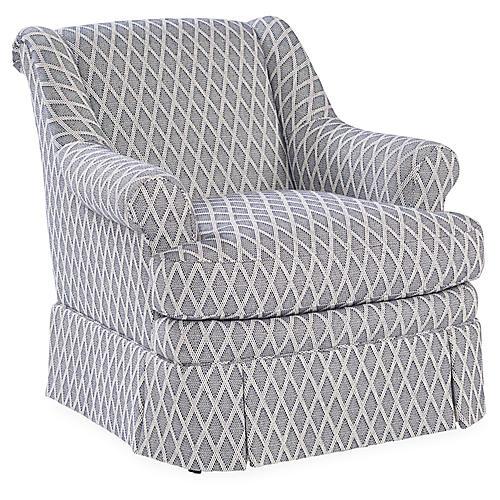 Lawford Club Chair, Navy/White
