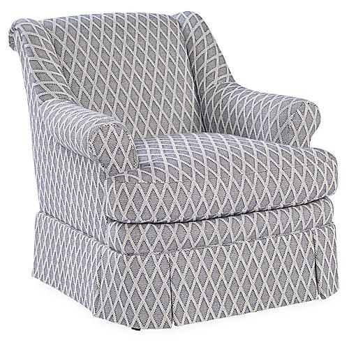 Lawford Club Chair, Navy/White