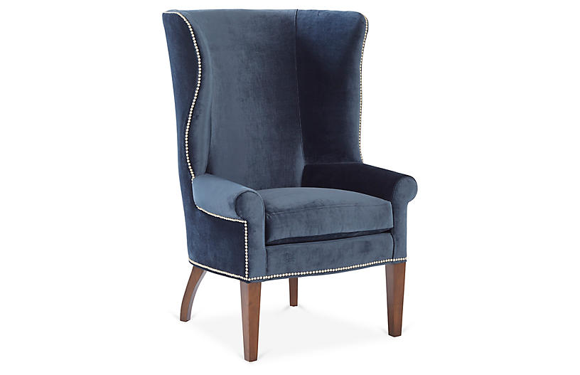 Throwback Wingback Chair, Navy Velvet