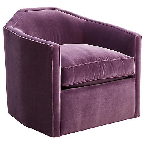 Speakeasy Swivel Glider Chair, Fig Velvet