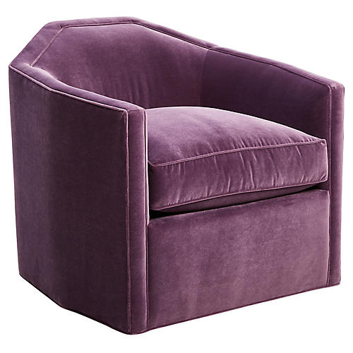 Speakeasy Swivel Club Chair, Fig Velvet