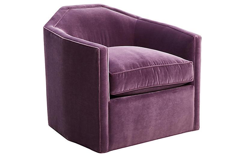 Speakeasy Swivel Club Chair, Fig Velvet