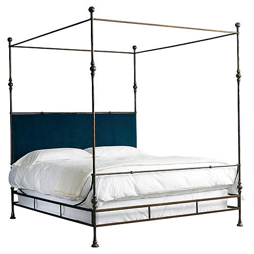 Tuscan King Bed, Gold/Denim