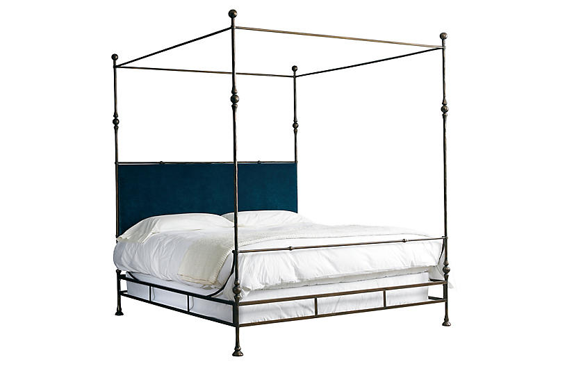 Tuscan Canopy Bed, Gold/Denim