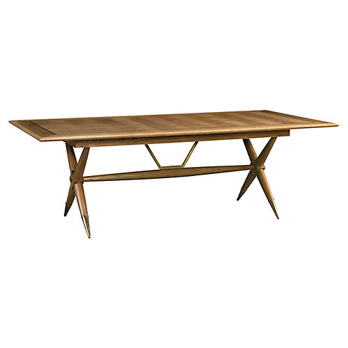 Dunand Dining Table, Natural Oak/Brass