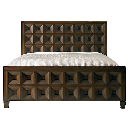 vice versa king bed walnut - Wood Bed Frame With Drawers