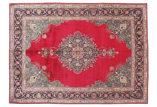 "9'5""x13'7"" Persian Tabriz Rug, Red/Multi"