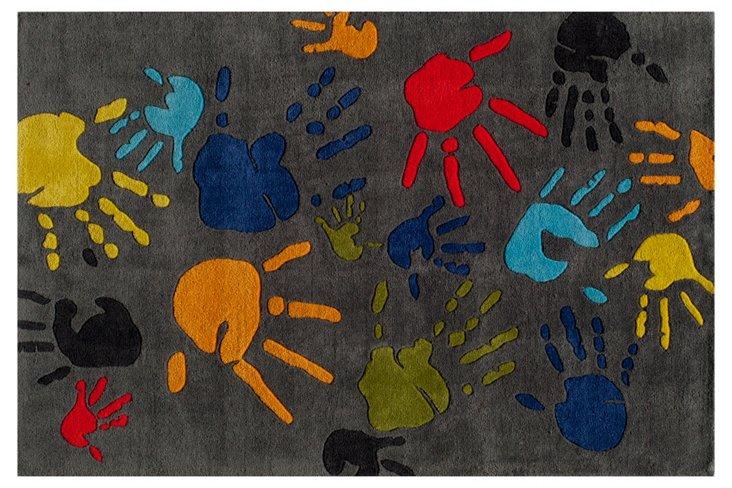 Handprint Rug, Gray
