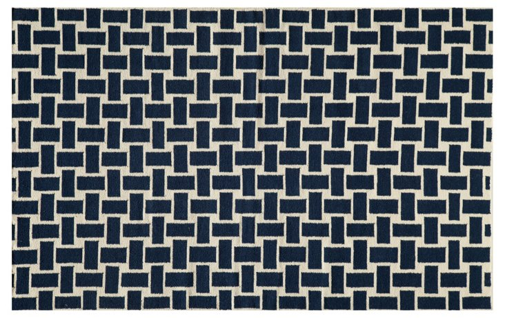 Basket Flat-Weave Rug, Navy