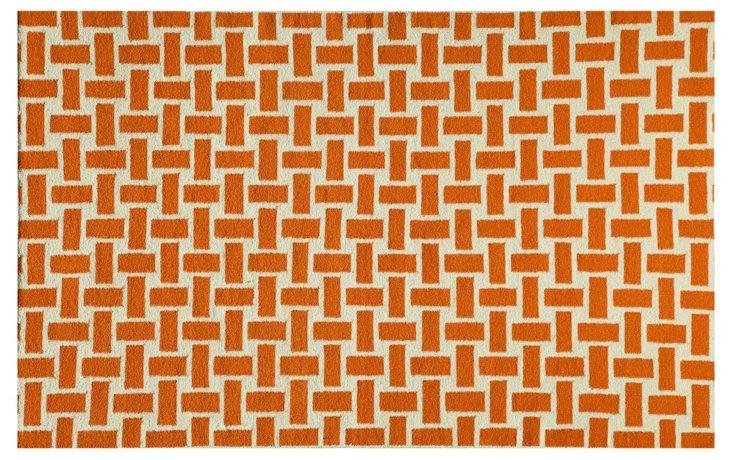 Basket Flat-Weave Rug, Orange