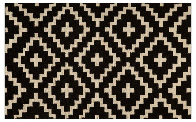 Diamond Flat-Weave Rug, Black