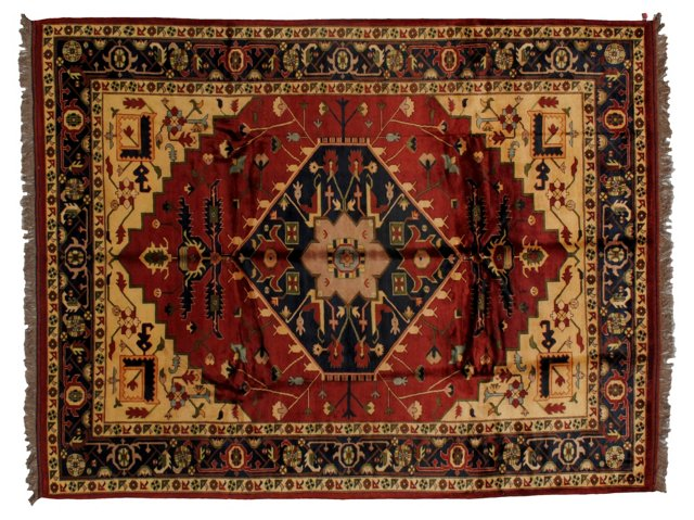 "9'1"" x 11'8"" Persian Rug, Ivory/Red/Blue"