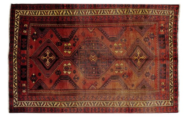 "6'1"" x 9'5"" Persian Rug, Rust/Ivory"