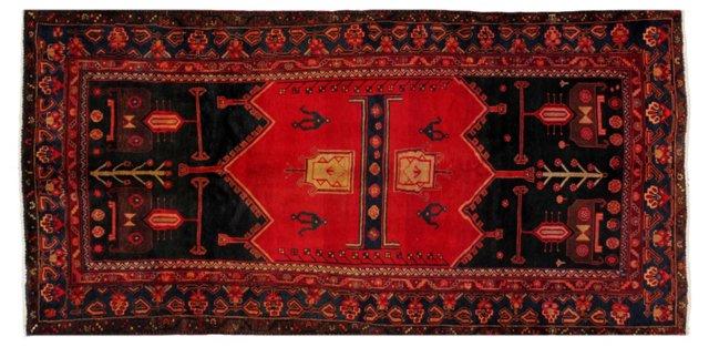 "4'11"" x 9'6"" Persian Rug, Red/Navy/Black"
