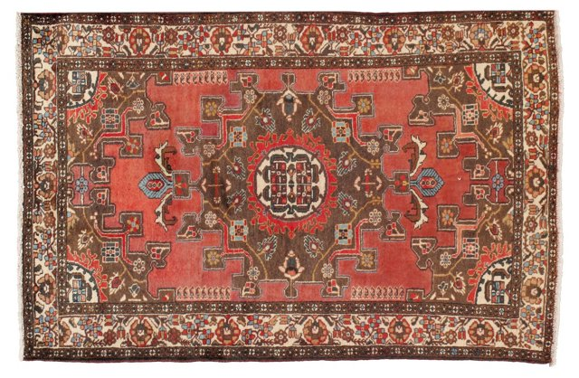 """4'4"""" x 6'8"""" Persian Rug, Red/Brown/Ivory"""