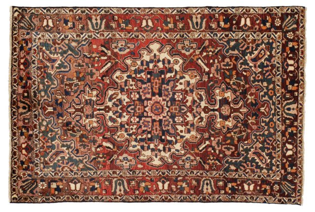 "4'11""x7'4"" Persian Rug, Ivory/Red/Multi"