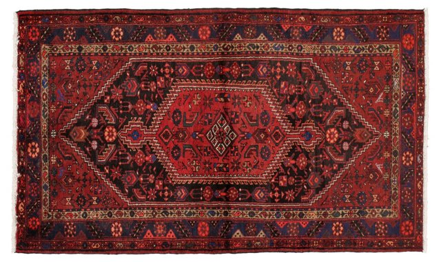 """4'7"""" x 7'6"""" Persian Rug, Red/Blue"""