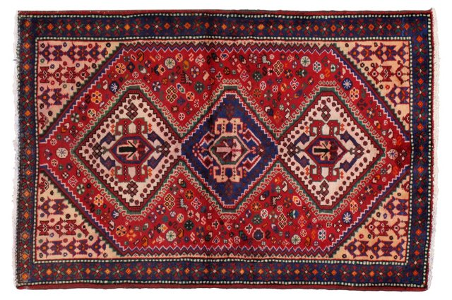 "4'2"" x 6'4"" Persian Rug, Blue/Red/Green"