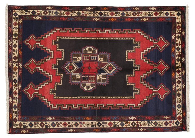 "4'10""x6'10"" Persian Rug, Navy/Red/Ivory"