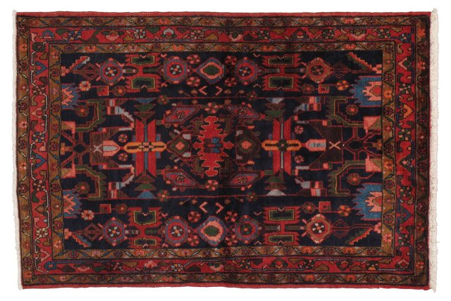 """4'8"""" x 7' Persian Rug, Navy/Red"""