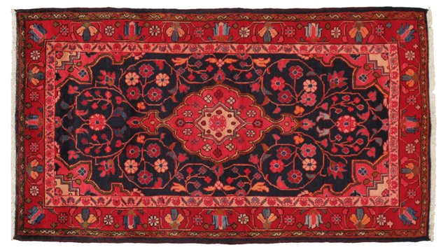 """3'6"""" x 6'2"""" Persian Rug, Navy/Red"""